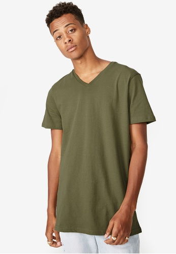 Cotton On green Essential Vee Neck T-Shirt 250AFAABA94A0AGS_1
