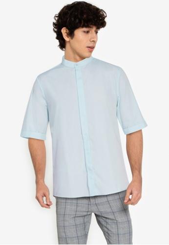 ZALORA BASICS blue ¾ Sleeve Grandad Shirt 74BF1AA68E3FE6GS_1