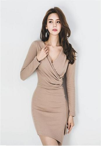 9cef0612367 Crystal Korea Fashion beige V-neck Tight Sexy Slim Dress 285A8AAF70545AGS 1