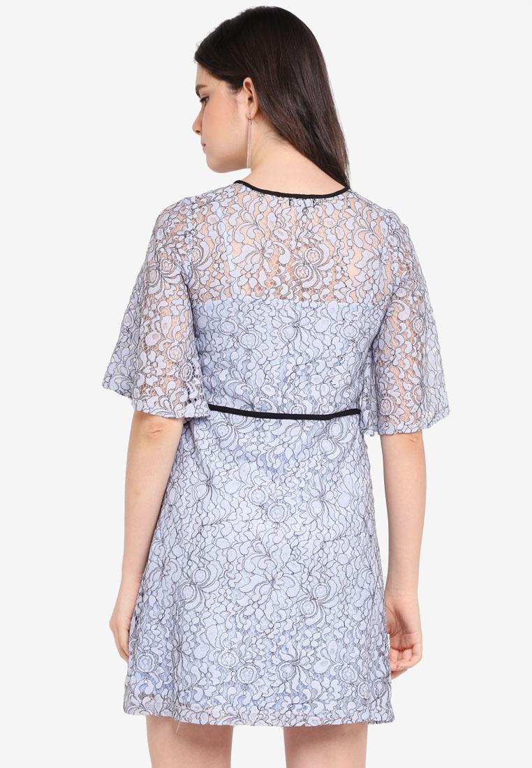 Contrast Lace Light Blue Dress ZALORA Binding rwrOnHqxP