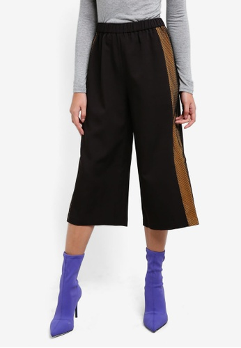 Something Borrowed black Paneled Elasticated Culottes 43B1BAAB4C749EGS_1