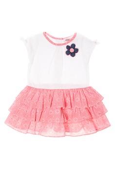 Infant Short Sleeve Roundneck Tiered Dress
