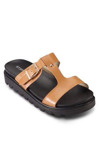 zalora 順豐簡約扣環涼鞋, 女鞋, 鞋