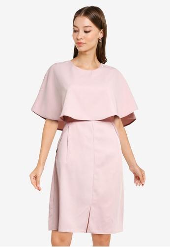 ZALORA WORK pink Cape Sheath Dress 0C8ADAA3B925A6GS_1
