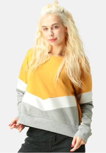 London Rag yellow Color Block Sweatshirt C5B1EAA48E57C4GS_1