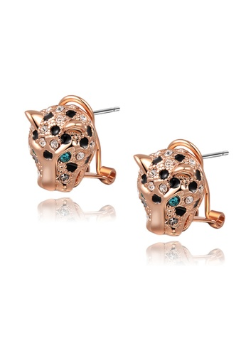 Kings Collection gold Austrian Crystal Rose Gold Leopard Head Stud Earrings 62759AC40E6918GS_1