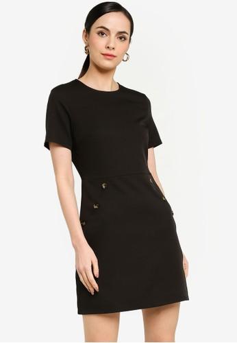 ZALORA WORK black Button Detail Mini Dress BCB22AA864893CGS_1