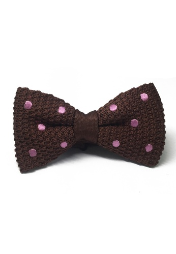 Splice Cufflinks brown Webbed Series Baby Pink Polka Dots Brown Knitted Bow Tie SP744AC88UBJSG_1