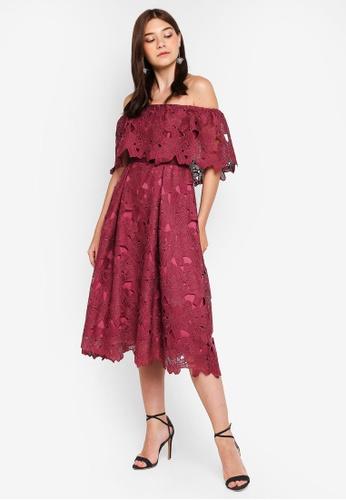 040e6e3f02019 Buy Dorothy Perkins Luxe Plum Lace Bardot Dress Online | ZALORA Malaysia