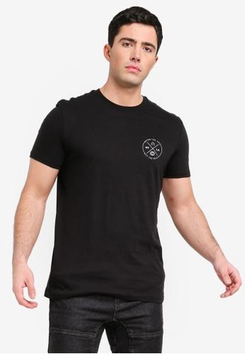 Factorie 黑色 修身印花T恤 60C0AAA9BF8ED1GS_1