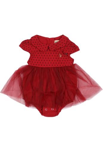Moejoe red MOEJOE Peterpan Collar Baby Jumper - Red B9A55KA34E0F26GS_1