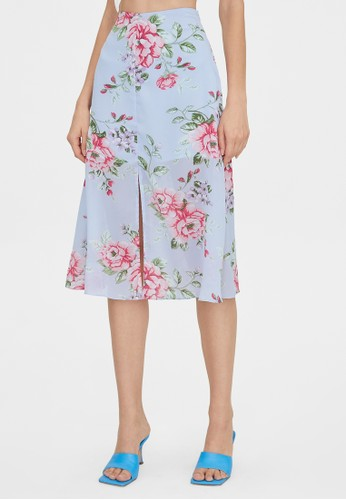 Pomelo blue Bold Floral Front Slit Flared Skirt - Blue 49570AAA1149C7GS_1