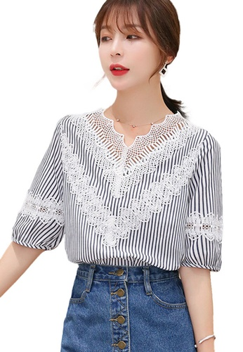 Sunnydaysweety multi Lace Patchwork Striped Top A070606 17094AABD224E5GS_1