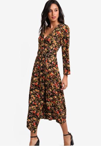 WAREHOUSE black Sidney Floral Wrap Dress WA653AA53JTYMY_1