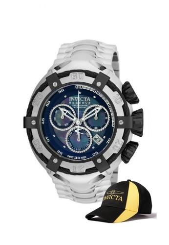 INVICTA black Invicta Bolt Men Swiss Quartz Chronograph 52mm Stainless Steel Watch 21344 w/ Free Official Baseball Cap A0F2FAC8C6322EGS_1