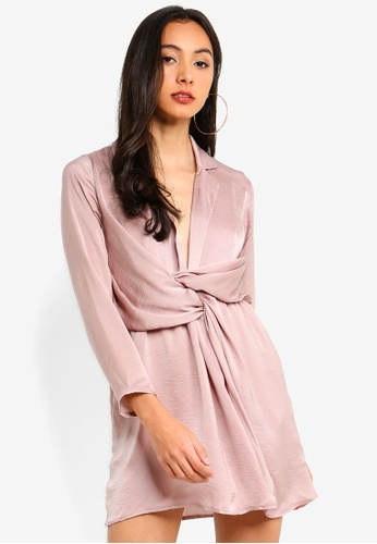 MISSGUIDED purple Petite Hammered Satin Wrap Plunge Dress 37924AABE62FF7GS_1
