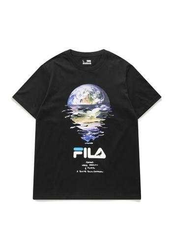 FILA black FILA x STAPLE Logo Earth Print Cotton T-shirt C41D9AA2BB5F8AGS_1