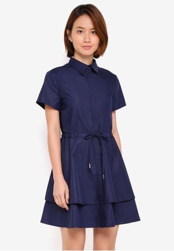 ZALORA navy Short Sleeve Layered Shirt Dress E5851AAD69893DGS_1