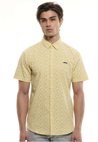 Private Stitch yellow Private Stitch Men Casual Short Sleeve Slim Fit Cotton Floral Shirt 7AD94AA52EA82DGS_1
