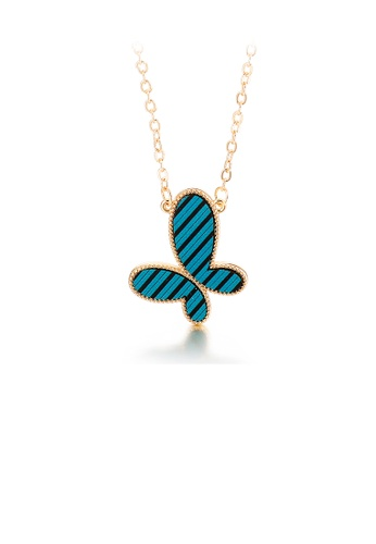 Glamorousky silver Fashion Simple Plated Gold Stripes Butterfly 316L Stainless Steel Pendant with Necklace AB32BAC8259CC0GS_1