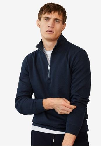 MANGO Man blue Zipper Cotton Sweater 02D62AAD23ED18GS_1