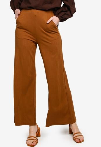 ZALIA BASICS brown High Waisted Flared Pants F9BD0AA4BCEC29GS_1