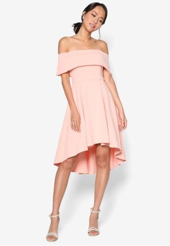 不對esprit香港分店地址稱下擺露肩連身裙, 服飾, 洋裝