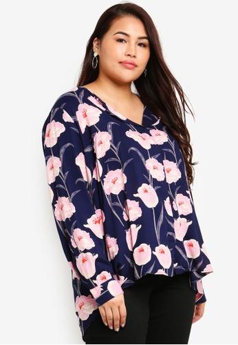Junarose navy Plus Size Emelie Veronica Long Sleeve Shirt 0D173AA75EDA6BGS_1