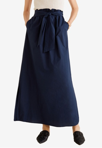 Mango blue and navy Cotton Long Skirt 540EFAA9BED43DGS_1