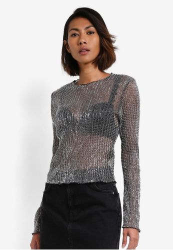TOPSHOP silver Chainmail Long Sleeve Top With Lettuce Hem TO412AA0RY2SMY_1