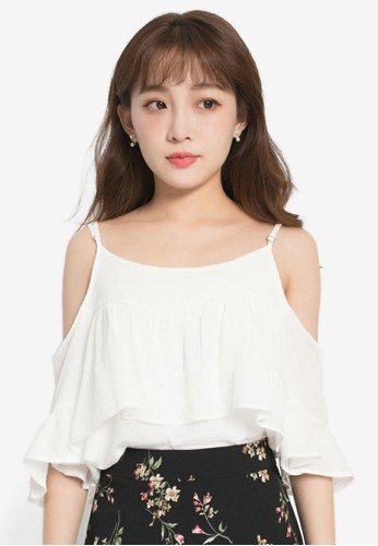 Yoco white Ruffle Tank With Shoulder Cut Out Top 360AEAA1D8C7F5GS_1