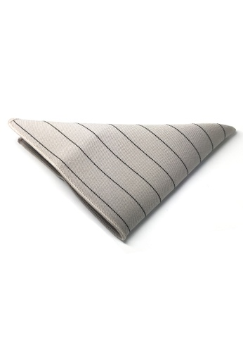 Splice Cufflinks white Bars Series Thin Black Stripes Greyish White Cotton Pocket Square   SP744AC75DLCSG_1