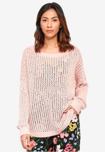 Hollister pink Oversize Mesh Pullover 6C7B7AA5BFEC1CGS_1
