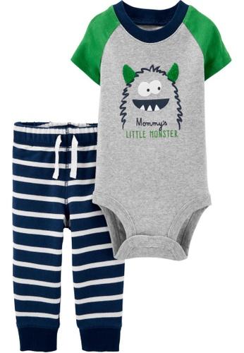 Carter's grey CARTER'S Boy Monster Bodysuit Pant Set 431C2KA215A0F6GS_1