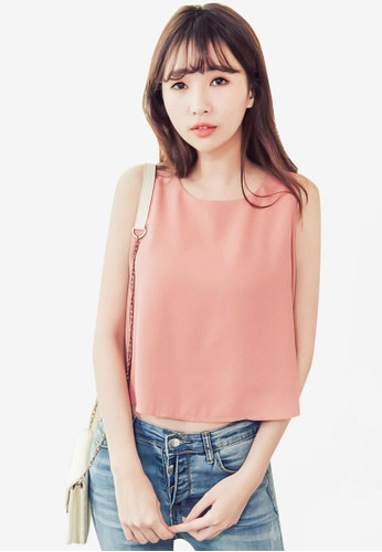 Eyescream pink Split Back Top 8771AAA2A7B6A6GS_1