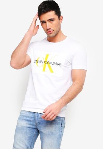 Calvin Klein 白色 短袖印花T恤 60618AA050AC3AGS_1