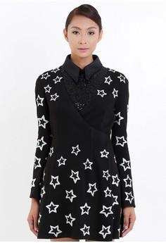 [PRE-ORDER] V-Neck Wrapped Star Embroidered Sleep Dress