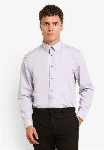 Burton Menswear London grey Grey Tailored Easy Fit Iron Shirt BU964AA0RM6MMY_1