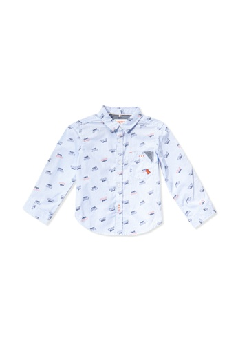 PONEY blue Poney Baby Zayden Freestyle Printed Long Sleeve Shirt 0DAE9KACC0D163GS_1