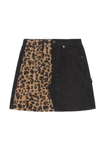 Mini cream black Panelled denim skirt CB371AA860CF3FGS_1