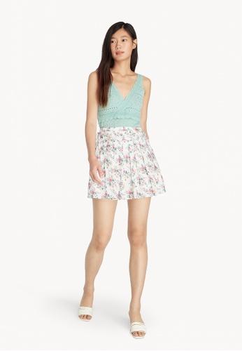 Pomelo white Purpose Mini Floral Pleated Skirt - White 03594AA677BA35GS_1