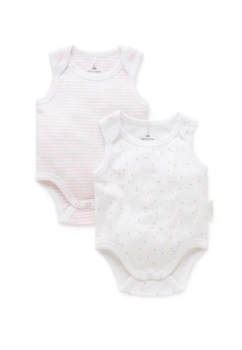 Purebaby pink 2 Pack Singlet Bodysuit 8D9BBKAD250E6EGS_1