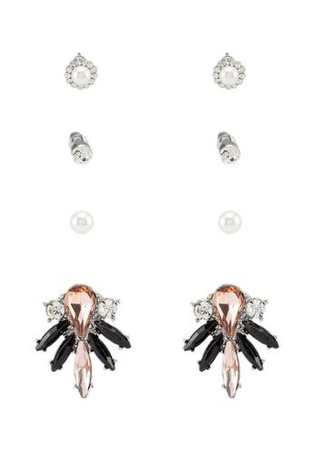 Red's Revenge pink 4-In-1 Evening Elegance Gemstone Studs Earrings Set C3C53ACBCFF09AGS_1