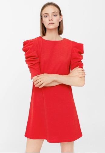 Mango red Puffed Sleeves Dress MA193AA0RBVRMY_1
