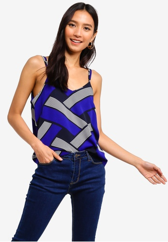 ZALORA black and multi Cross Back Cami Top 176F8AA015A499GS_1