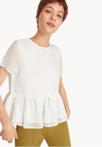 Pomelo white Ruffled Hemline Blouse - White 9FA36AAD4D7E45GS_1