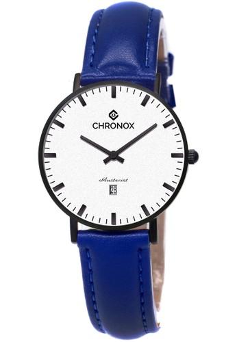 CHRONOX blue CHRONOX CX1007/D5 Putih Hitam - Jam Tangan Wanita Casual -Tali Hitam- Genuine Leather Strap Biru 01BB1AC023DD96GS_1
