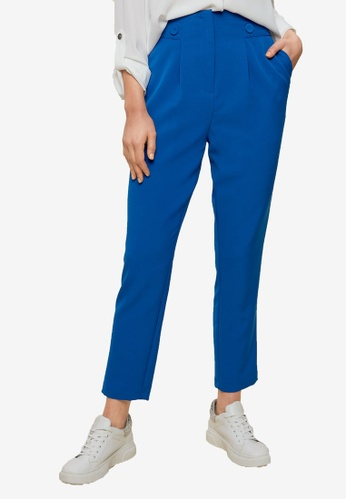 Dorothy Perkins blue Cobalt High Button Trousers 24382AAB0DD53AGS_1