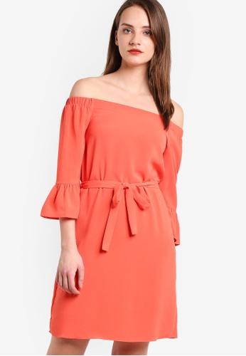 Dorothy Perkins pink Coral Long Sleeve Bardot Dress DO816AA22GXDMY_1