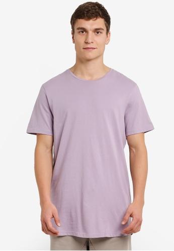 Cotton On purple Longline Scoop Hem Tee CO372AA0RZ7YMY_1
